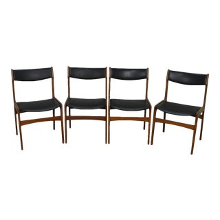 Danish Modern Teak & Black Leather Dining Chairs - Set of 4 For Sale