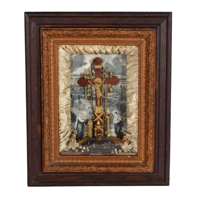 Antique Victorian Religious Shadowbox with Crucifix Scene - Image 9 of 9