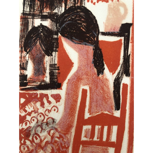 1960s Lady in an Interior Color Woodcut 1960s For Sale - Image 5 of 9