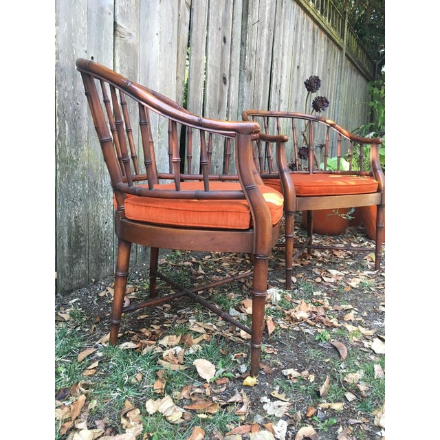 Bamboo Chairs & Orange Cushions - Pair - Image 4 of 5