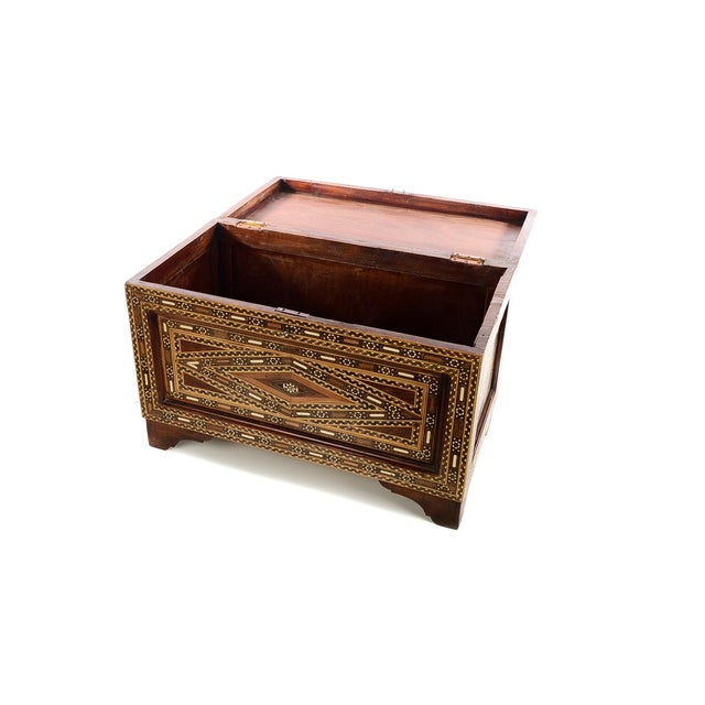African Beautiful Moroccan Inlaid Vintage Trunk Chest W/Geometric Design For Sale - Image 3 of 10
