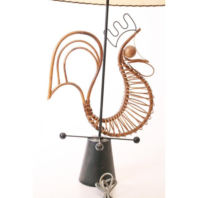 Frederick Weinberg Frederick Weinberg Mid Century Modern Wicker Table Lamp For Sale - Image 4 of 11