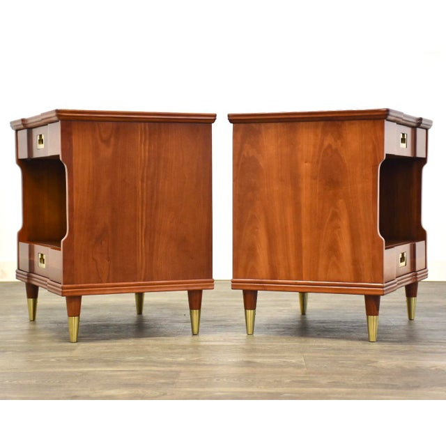 Mid-Century Modern Cherry Nightstands by John Widdicomb - a Pair For Sale - Image 3 of 12