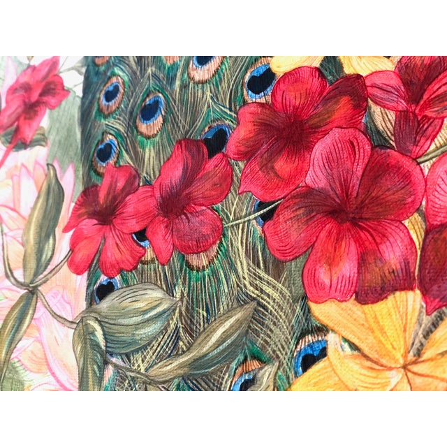 """Asian Contemporary Allison Cosmos """"A Peacock's Paradise"""" Painting For Sale - Image 3 of 4"""