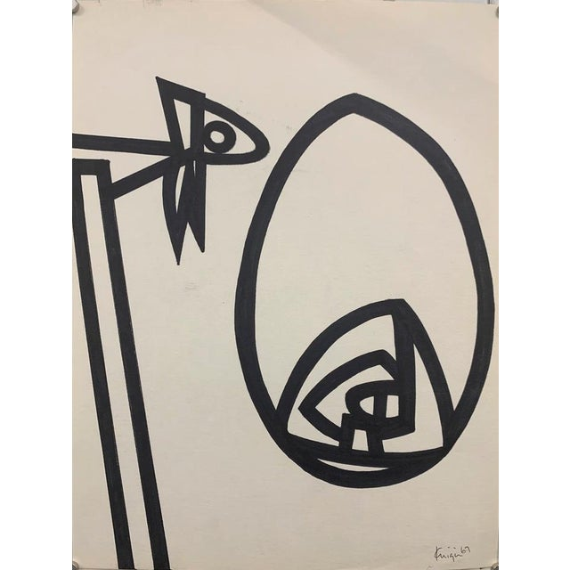 """1967 Ink Brush """"Abstract 1"""" Drawing Whitney Museum Artist Original Art For Sale In New York - Image 6 of 6"""