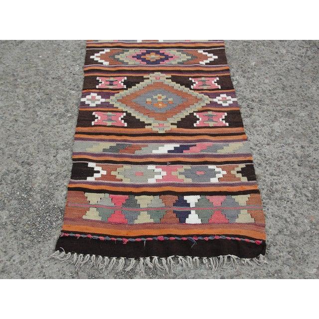 Vintage Turkish Kilim Rug - 2′8″ × 12′5″ For Sale - Image 9 of 11