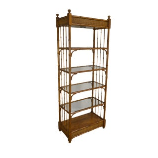 Faux Bamboo & Wicker Etagere Bookcase For Sale