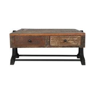 Rustic Iron Two-Drawer Coffee Table