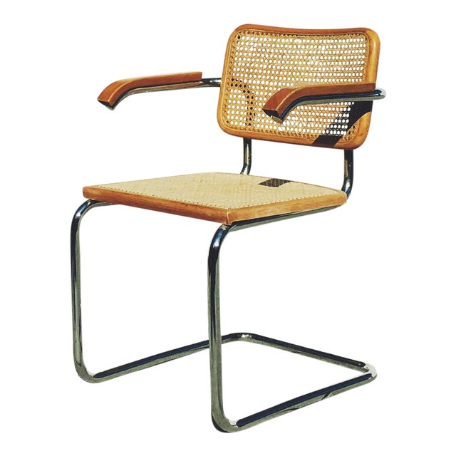 mid century marcel breuer cane cesca chair chairish. Black Bedroom Furniture Sets. Home Design Ideas