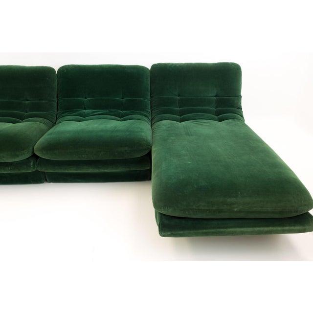 Mid-Century Modern Vladimir Kagen for Preview Hunter Green Velvet Sectional Sofa For Sale - Image 11 of 12