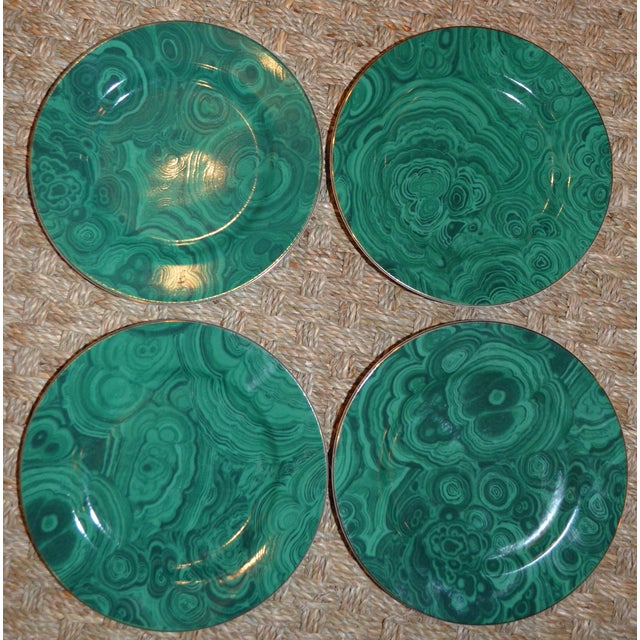 This is a set of four Neiman Marcus Dessert/Tapas Plates in an emerald green faux malachite pattern. These plates are are...