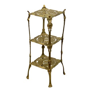 Vintage Three Tier Hollywood Regency Style Brass Plant Stand For Sale