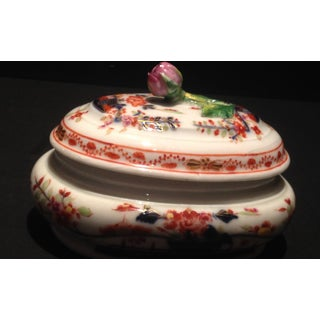 Vintage Meissen Porcelain Trinket Box With Rose Finial and Asian Designs Preview