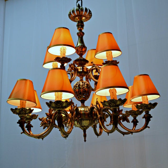 12 Arm Dutch Brass Chandelier - Image 9 of 9