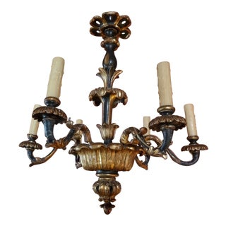19th Century Italian Gilt Wood Chandelier For Sale