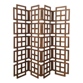 Mid-Century Modren Style Solid American Walnut Geometric Screen For Sale