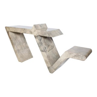 Mid Century Modern Goatskin Parchment Sculptural Console Table For Sale