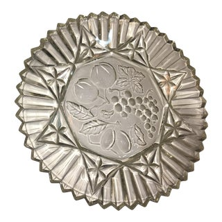 Mid-Century Floral Glass Serving Dish For Sale