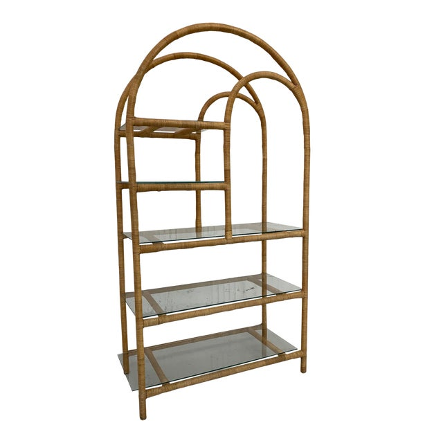 Rattan Wrapped Etagere For Sale