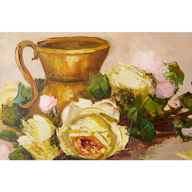 Vintage French Still Life of Roses by Simone Lalanne Bascle, Circa 1940s For Sale - Image 4 of 9