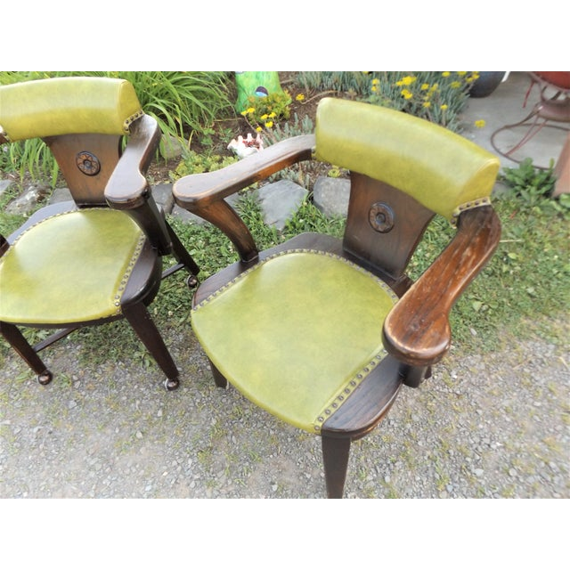 Mid-Century Modern Wood and Avocado Vinyl Mid-Century Arm Chairs - Set of 3 For Sale - Image 3 of 13