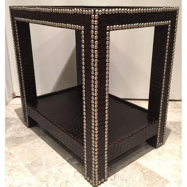 Crocodile-Embossed Leather Side Table - Image 3 of 10