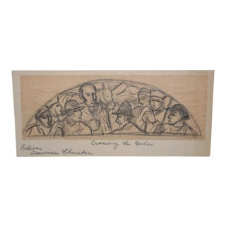 "Boris Deutsch (1892-1978) ""Crossing the Andes"" Mural Study in Graphite C. 1930s For Sale"