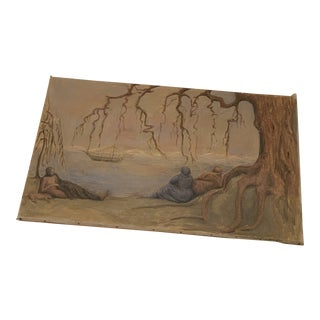 Early 20th Century Women Waiting Under Tree for Ship Painting For Sale