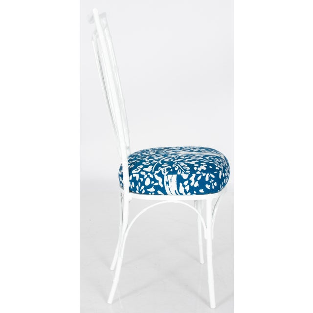 Fabric Chinoiserie White Powder-Coated Metal Faux Bamboo Dining Set For Sale - Image 7 of 8