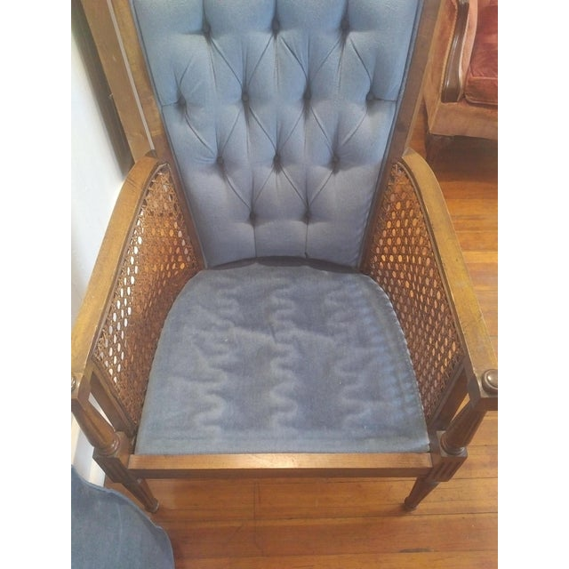 Blue Mid-Century Wingback Blue Upholstered Caned/Cane Chair For Sale - Image 8 of 10