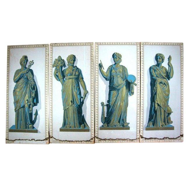 Greek Goddesses Wallpaper Panels - Set of 4 For Sale