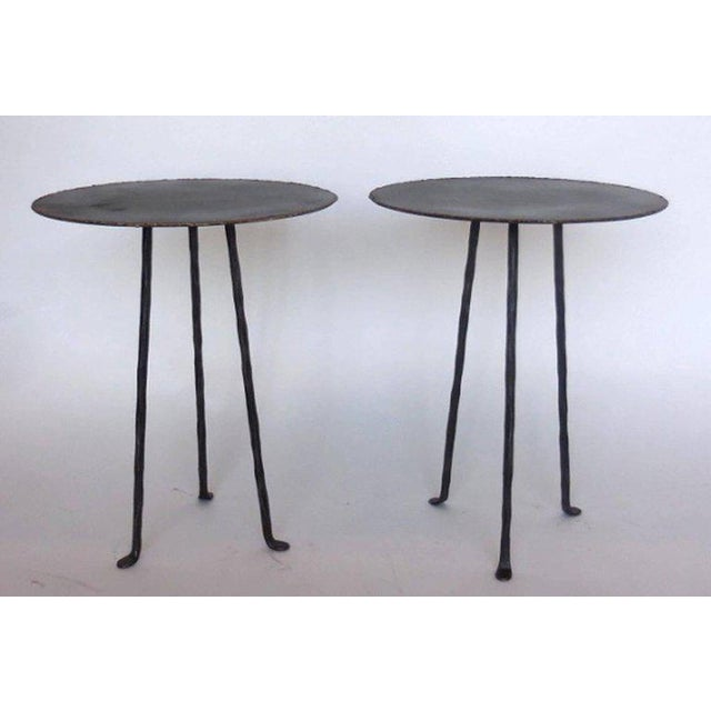 Bronze Pair of Custom Iron Tripod Tables With Bronze Edging For Sale - Image 7 of 7