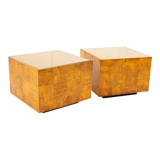 Milo Baughman Style Mid Century Square Oak and Smoked Glass Side End Tables - Pair For Sale