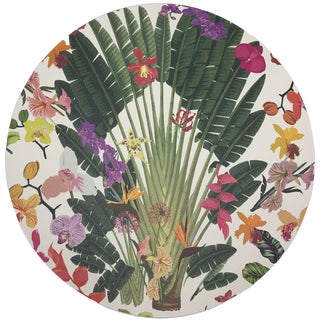 "Nicolette Mayer Fantasy Tropical White 16"" Round Pebble Placemats, Set of 4 For Sale"