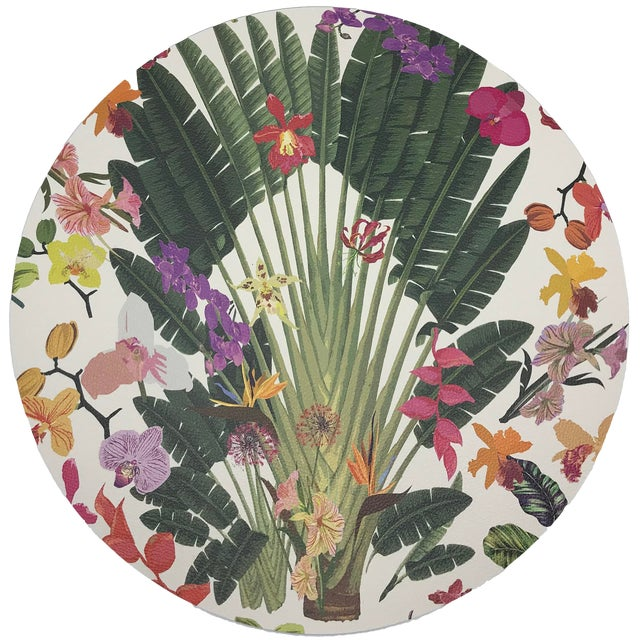 """Nicolette Mayer Fantasy Tropical White 16"""" Round Pebble Placemats, Set of 4 For Sale"""