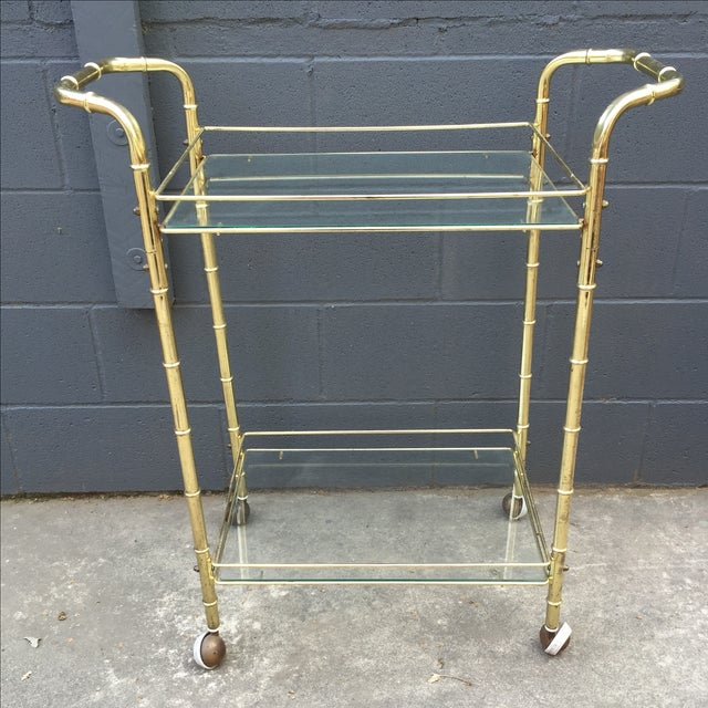 Brass Bar Cart with Bamboo Motif - Image 2 of 5