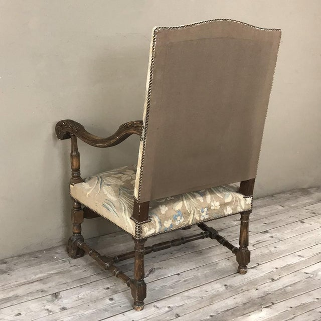 19th Century French Louis XIII Armchair With Tapestry For Sale - Image 9 of 12