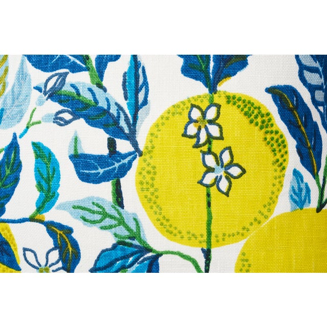 2010s Schumacher Double-Sided Pillow in Citrus Garden Pool Blue Linen Print For Sale - Image 5 of 8