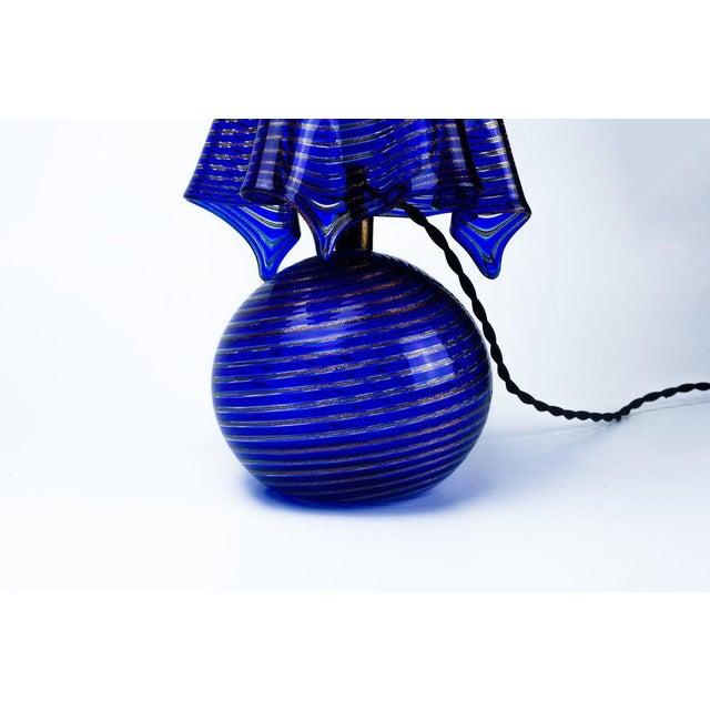 Italian Lamp La Murrina Murano Glass in Blue and Gold Swirl Reticcello, 1970s - Image 5 of 10