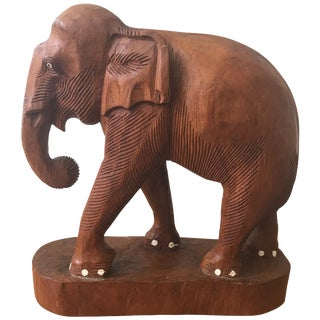 Large Carved Wood Elephant Sculpture For Sale