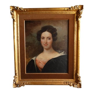 1820s Oil on Canvas Portrait of the Sister in the Pink Dress For Sale