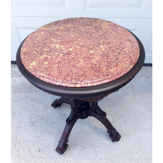 Marble Antique East Lake Marble Top Table For Sale - Image 7 of 8