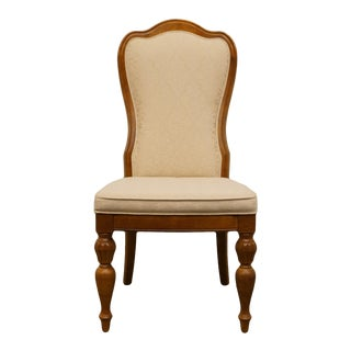 Late 20th Century Vintage Stanley Furniture Italian Tuscan Style Upholstered Dining Side Chair For Sale