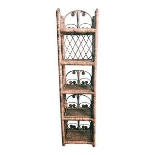 Vintage Bohemian Rattan 5-Tier Standing Shelf