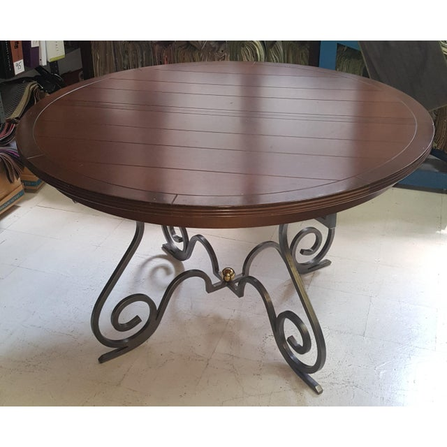 Creative Metal Round Table With Extra Leaf For Sale - Image 12 of 12
