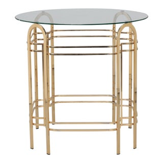 Brass and Glass Mid Century Center Table For Sale