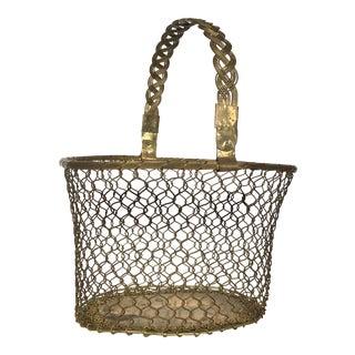 1960s Mid-Century Brass Basket For Sale