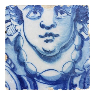 18th Century Portuguese Baroque Angel Face Tile For Sale
