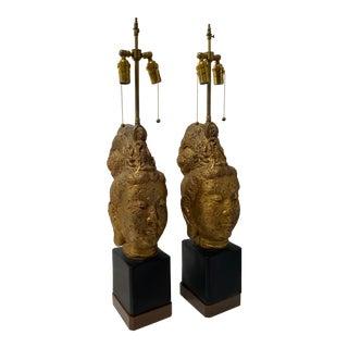 Mid-Century James Mont Table Lamps Tara Buddha Kwan Yin For Sale