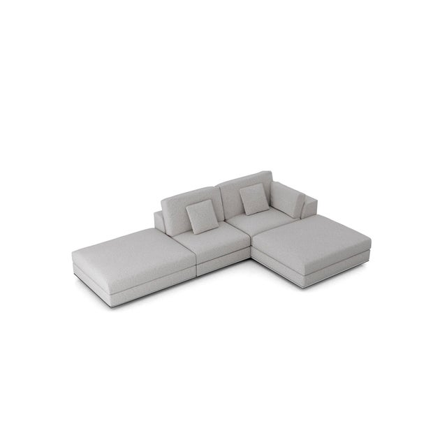 Contemporary Gray Modular Sectional Sofa and Ottoman For Sale - Image 9 of 13